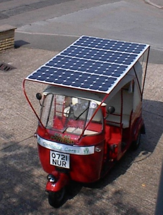 Solar Powered car in India, courtesy of planet.com