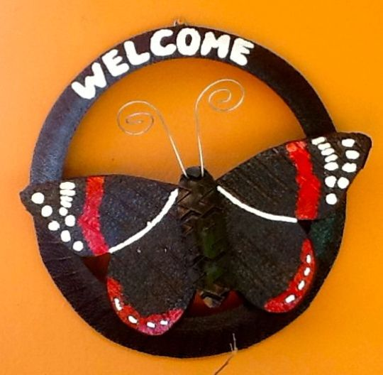 Welcome Sign -Recycled Tires!